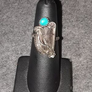 sterling silver turquoise native ring sz 6.75